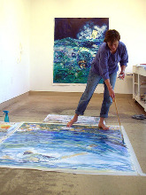 Cheryl in her studio at VCCA.